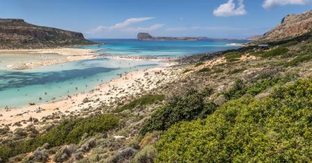 The beautiful lagoon of Balos in summertime panorama