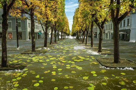 Manipulation flood in Laisves alley in Kaunas city