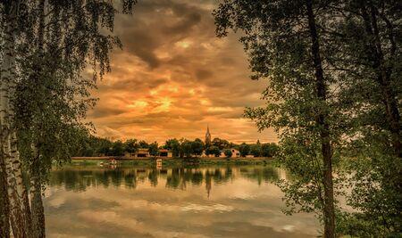 Nemunas River near the town of BirÅ¡tonas sunset Reklamní fotografie