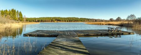 Great Lithuanian lake panorama in summer day
