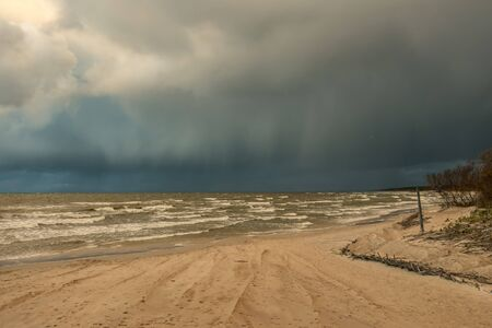 The Baltic Sea coast near the Lithuanian resort of Palanga Standard-Bild - 138712244