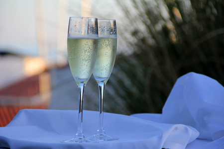 Glasses of champagne for a wedding Stock Photo