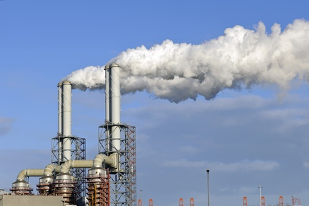 smoke stacks of a oil and chemical refinery