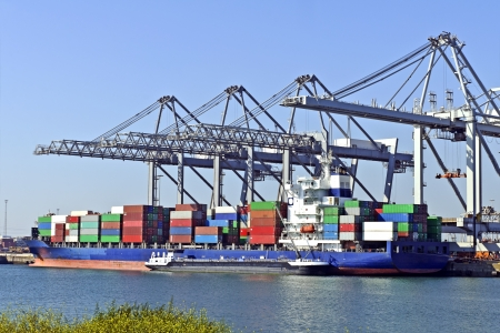 container ship in the harbor of rotterdam netherlands