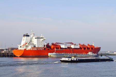 oil tanker in harbor of rotterdam netherlands photo