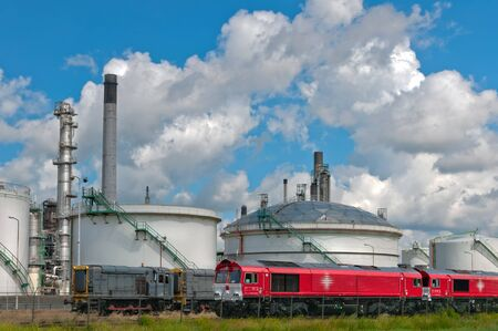 oil train wagons at oil refinery photo