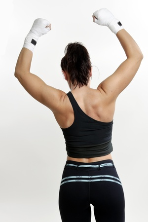 female fighter on white background photo
