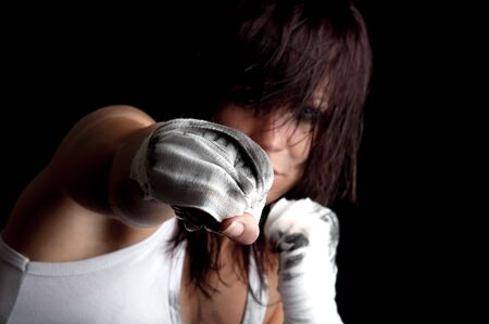 young female fighter  boxing  photo