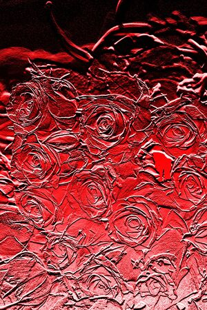 red painting background with flowers  photo