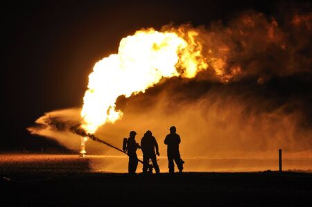 firefighters in action after a gas explosion