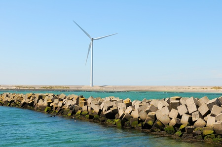 aero generator: wind turbine on coastline
