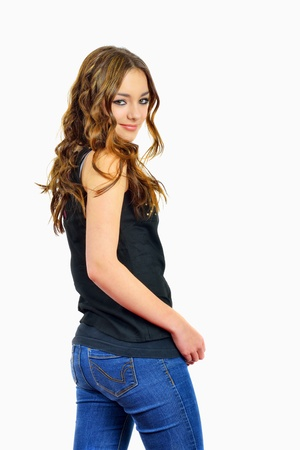 beauty and fashion girl in blue jeans photo