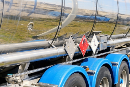 fuel tanker truck with warning sign