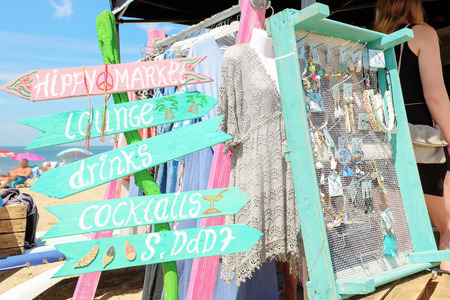 Hippie Ibiza market on the beach