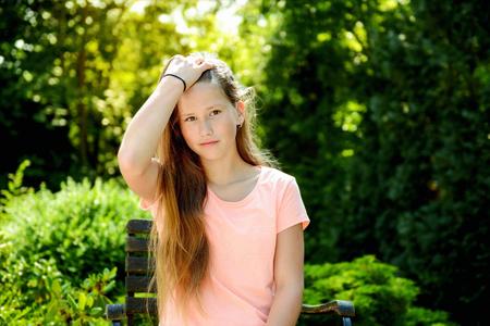 beautiful young girl in garden