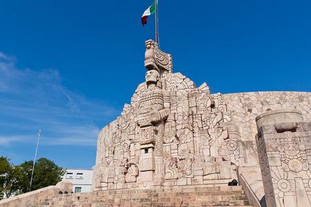 Flag monument in Merida Yucatan Stock Photo