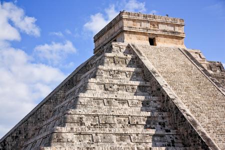Kukulcan pyramid detail in Yucatan Mexico