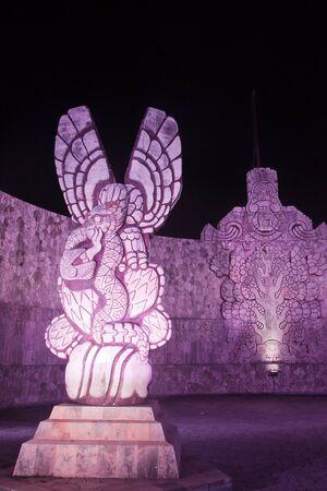 Illuminated flag monument detail in Merida Yucatan