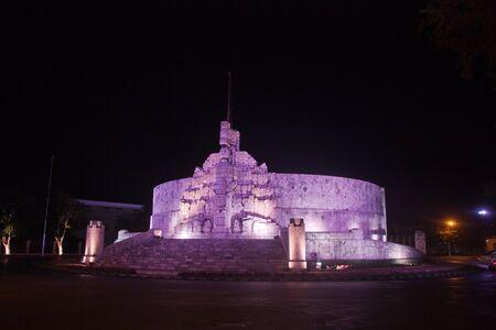 Complete illuminated flag monument in Merida, Yucatan, Mexico