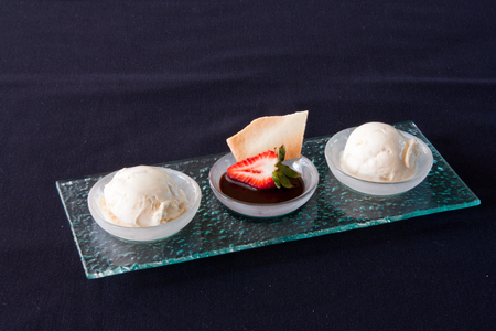 Vanilla ice cream with hot fudge