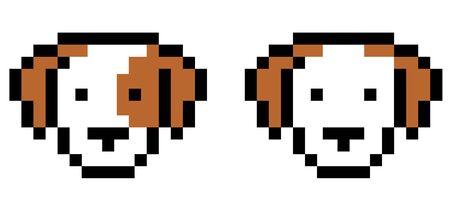 Dog 8 bit on white