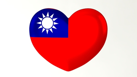 Heart-shaped button pin 3d illustration render flag I love Taiwan