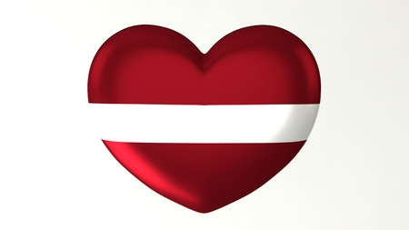 Heart-shaped button pin 3d illustration render flag I love Latvia 版權商用圖片