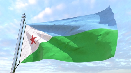 Flag of the country Djibouti weaving in the air. Flying in the sky.