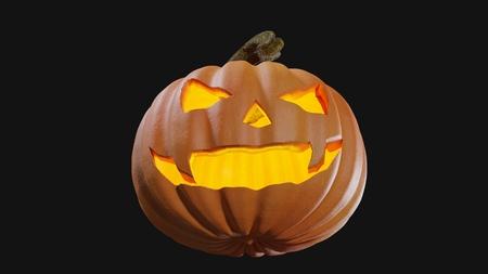 Illustration of a Halloween pumpking carved for the holydays. Jack o lantern 3D rendering. Stock Illustration - 110382035