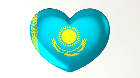 Heart-shaped button pin 3d illustration render flag I love Kazakhstan