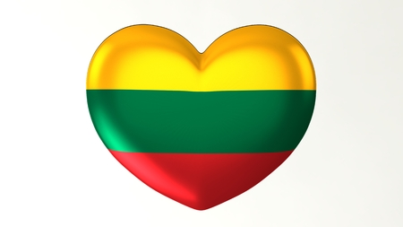 Heart-shaped button pin 3d illustration render flag I love Lithuania Reklamní fotografie