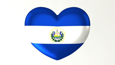 Heart-shaped button pin 3d illustration render flag I love El Salvador