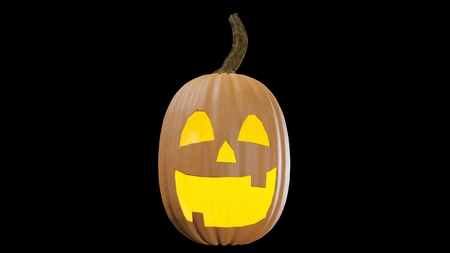 Illustration of a Halloween pumpking carved for the holydays. Jack o lantern 3D rendering. Stock Photo