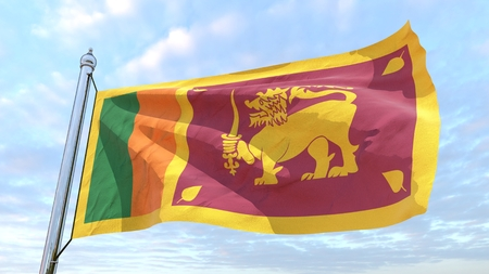 Flag of the country Sri Lanka weaving in the air. Flying in the sky.