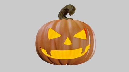 Illustration of a Halloween pumpking carved for the holydays. Jack o lantern 3D rendering. Stock Illustration - 110383045