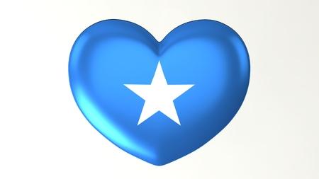 Hartvormige knop pin 3d illustratie render vlag Ik hou van Somalië