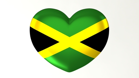 Heart-shaped button pin 3d illustration render flag I love Jamaica