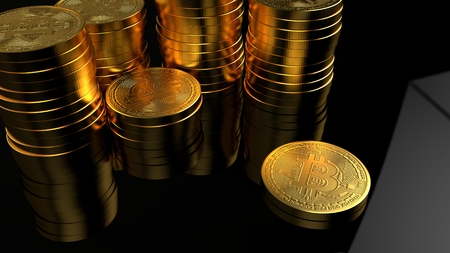 Bitcoin golden coin 3D rendering illustration. Digital currency.