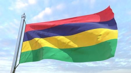 Flag of the country Mauritius weaving in the air. Flying in the sky.