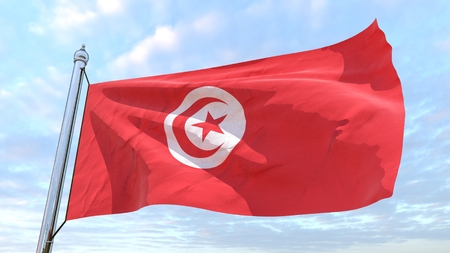 Flag of the country Tunisia weaving in the air. Flying in the sky.