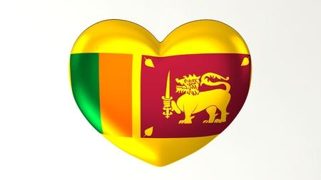 Heart-shaped button pin 3d illustration render flag I love Sri Lanka