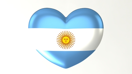 Heart-shaped button pin 3d illustration render flag I love Argentina