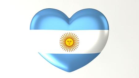 Herzförmige Schaltfläche Pin 3D-Darstellung rendern Flagge Ich liebe Argentinien