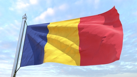 Flag of the country Romania weaving in the air. Flying in the sky.