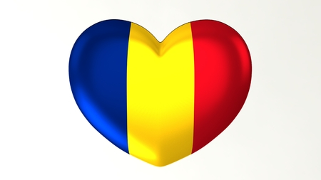 Heart-shaped button pin 3d illustration render flag I love Romania Zdjęcie Seryjne