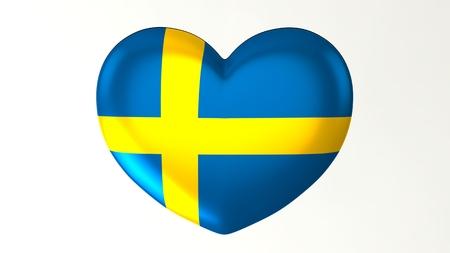 Heart-shaped button pin 3d illustration render flag I love Sweden