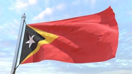 Bandera del país Timor-Leste tejiendo en el aire. Volando en el cielo.