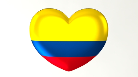 Heart-shaped button pin 3d illustration render flag I love Colombia