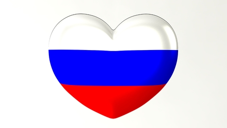 Heart-shaped button pin 3d illustration render flag I love Russia