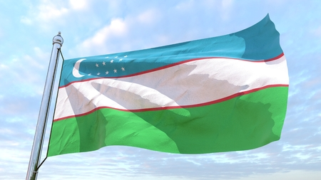 Flag of the country Uzbekistan weaving in the air. Flying in the sky.